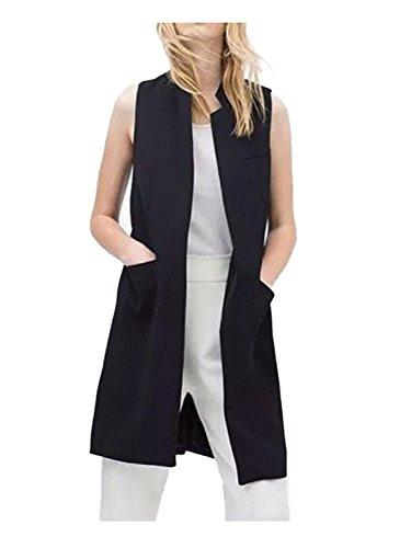 Sleeveless Long Vest (Women Solid Mandarin Collar Sleeveless Slim Waistcoat Long Suit Vest (XL/US L, black))