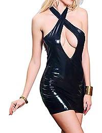Faux Leather Club Dress Sexy Women's Erotic Costume Lingerie Wetlook Deep V Mini Halter Dress