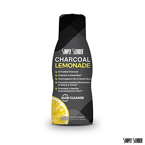 Charcoal Lemonade 24 Hour Cleanse with ECGC from Green Tea by Simply Slender - Activated Charcoal Drink with Natural Lemon for Toxin Elimination & Cleansing, 12 fl oz