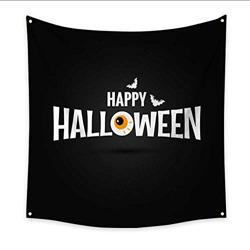 Anniutwo Tapestry Black Happy Halloween Logo Design Background Dorm Living Room Bedroom 70W x 70L Inch ()