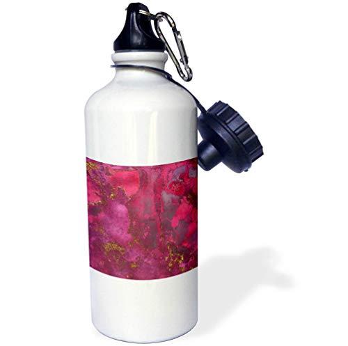 3dRose Uta Naumann Luxury Gemstone Marble Background - Pink and Gold Blush Rose Gemstone Ink Marble - 21 oz Sports Water Bottle (wb_265466_1)