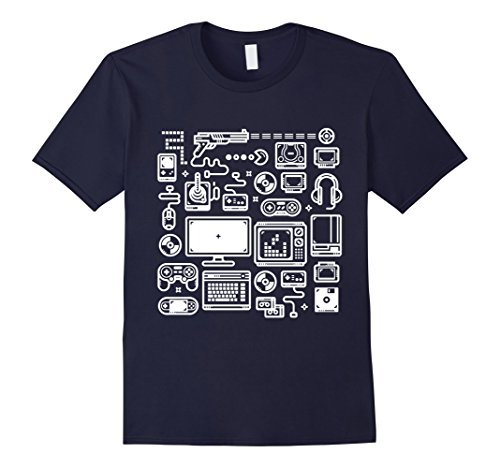 Mens Gamer T-Shirt: Retro Gaming Old-School Vintage Computers Large Navy
