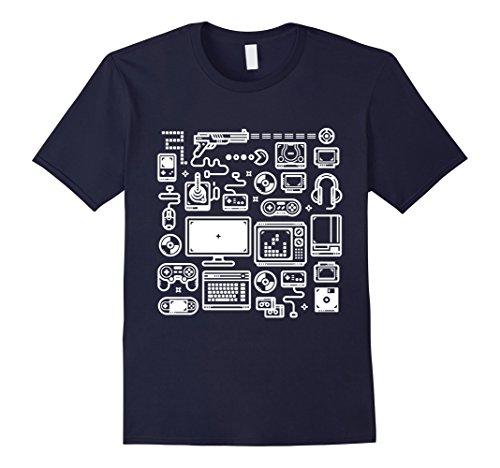Mens Gamer T-Shirt: Retro Gaming Old-School Vintage Computers Large Navy