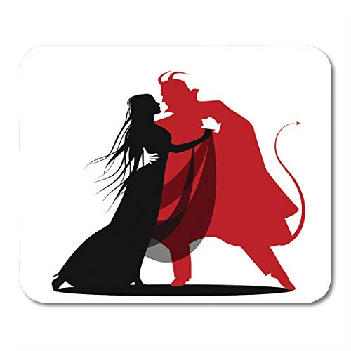Emvency Mouse Pads Red Witch Silhouette of Romantic Devil Dancing Lady Halloween Dance Autumn Bats Mousepad 9.5