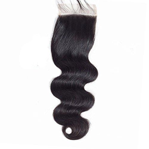 Forawme Unprocessed Brazilian Human Hair Free Part Body Wave Top Closure 10 Inch Virgin Human Hair Lace Closure Pieces 130% 1B Black Soft Short Hair Closure Pieces