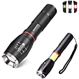 QIANXIANG LED Tactical Flashlight with Magnetic Base,T6 High Power Torch Flashlight Bright Rechargeble High Lumen with Water Resistant,Adjustable Focus,5 Light Mode for Camping,Hiking,Portable Outdoor