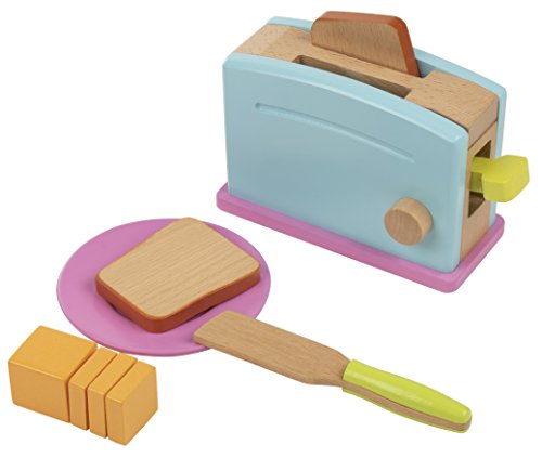 (Wooden Toaster Toy - 9-Piece Pretend Play Kitchen Set Bread Butter Kids, Wood Play Food Children Playtime)
