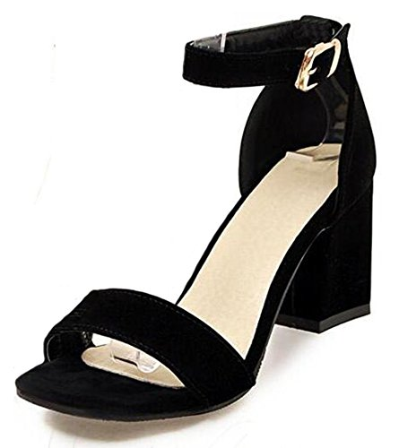 (Easemax Women's Fashion Faux Suede Open Toe Buckled Ankle Strap High Block Heel Sandals Black 4 B(M))