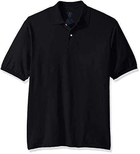 Jerzees Men's Spot Shield Short Sleeve Polo Sport Shirt, Black, - 5.6 Block