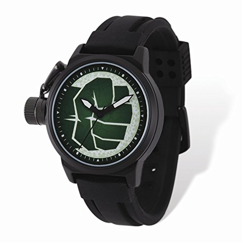Marvel+Watches Products : Marvel Adult Size Hulk Black-plated Left Hand Watch