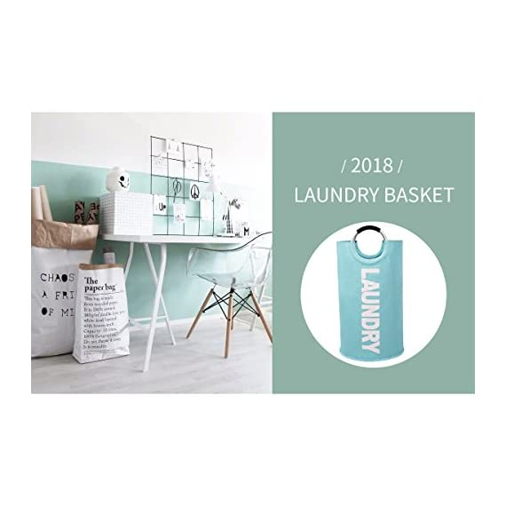 """82L Large Laundry Basket Collapsible Fabric Laundry Hamper Tall Foldable Laundry Bag Handles Waterproof Washing Bin Clothes Bag Travel Shopping Bathroom College Essentials Storage (Light Blue,L) - ALUMIUM HANDLE WITH SOFT GRIP - The handle design of laundry baskets is very comfortable and reinforced for easy carrying. It is suitable for most situations use, such as closet, college dorms, apartments, baby nurseries, utility room office for toys, books, CDs, clothes, underwear storage. DOUBLE LAYER 600D OXFORD FABRIC - While other laundry bins may rip and spilt under pressure, ours is crafted from heavy-duty double-layered 600D Oxford fabric and thick PE coating in the bottom. The hampers are waterproof and durable. 100L LARGE CAPACITY & FOLDABLE - Using size 15""""(L) x 15""""(W) x 28""""(H) / 38 x 38 x 72cm. Folded size 15"""" (L) x 15""""(W) x 1.2""""(H) / 38 x 38 x 3cm. The calculated volume of the dirty clothes basket is 81L, but it can hold up to 100L clothes. It can meetboth large capacity and save storage spaces such as luggage and drawers. - laundry-room, hampers-baskets, entryway-laundry-room - 41E1UyNgWoL. SS570  -"""