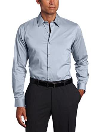Van Heusen Men's Studio Solid Stretch Shirt, Steel Grey, Large