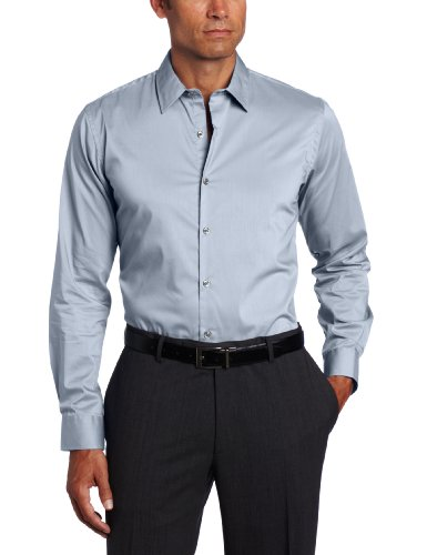 Steel Stretch Shirt (Van Heusen Men's Studio Solid Stretch Shirt, Steel Grey, Large)