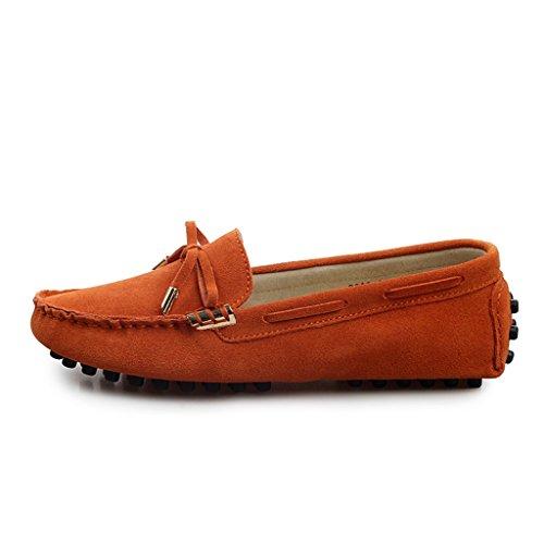 Minitoo Womens, runde Schuhspitze, Metall schmal Mokassins Slipper, Wildleder Schuhe Boat Arbeit fahren Schuhe Orange