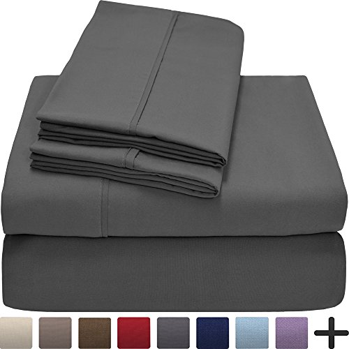 Premium 1800 Ultra-Soft Microfiber Collection Sheet Set - Double Brushed - Hypoallergenic - Wrinkle Resistant - Deep Pocket (Split Head Flex King, Grey) (Head Split)
