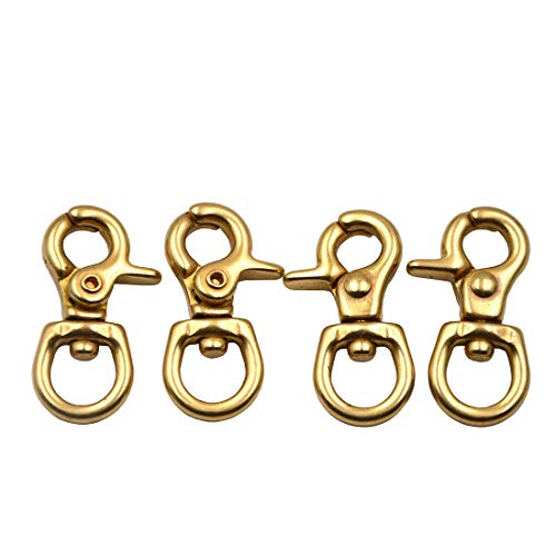 Brass Swivel Solid (Okones Pack of 4,2/5''Eye Diameter,1-4/9'' Overall Length,Finish Surface Solid Brass Lobster Clasps Oval Swivel Trigger Clips Hooks (2/5''1-4/9''length Round))