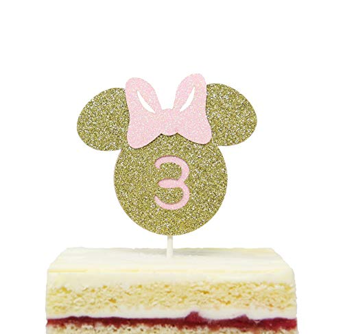 Minnie Mouse Inspired Three Cake Topper Glitter Gold Pink Smash Cake Toppers -