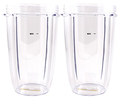 Nutribullet Blender 24 oz Tall Cup (2-Pack) | Two Large Premium Boder Plastic Replacement Container for Pro 900 Watt or 600 Blenders by Boder