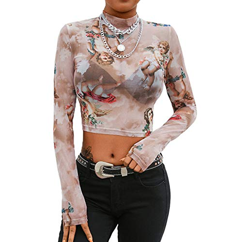 - Dorcas Women's Glitter Sheer See Through Short Sleeve Mesh Top Tee Blouse Angel Print Top