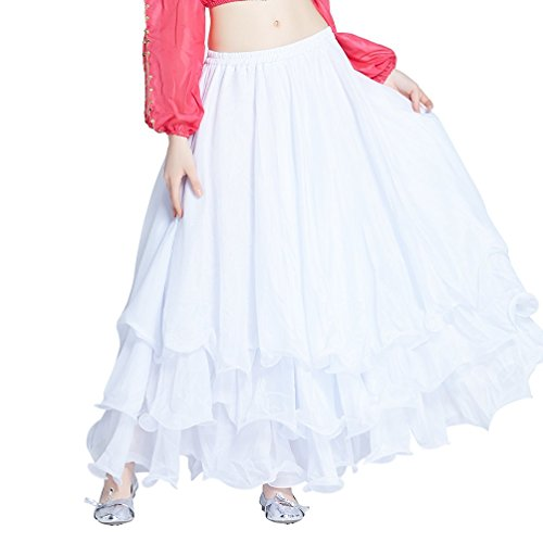 [Dance Fairy Party Chiffon Belly Dance Tiered Maxi Long Skirt,White] (Tribal Costumes Of India)