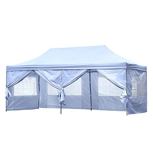 10x20 ft EZ Instant Pop up Canopy Carport,Party Tent Folding Heavy Duty Gazebo with Removable Sidewalls and Wheeled Bag Waterproof