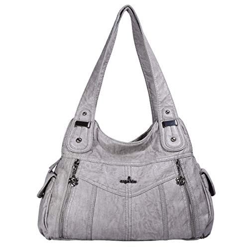 Angelkiss Womens Soft Leather Purses and Handbags Crossbody Bags Multifunctional Hobo Shoulder Bag Satchels for Women (SB-A0123-gray)