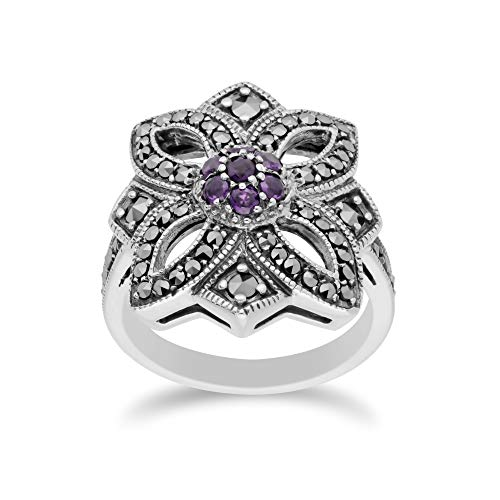 925 Sterling Silver Amethyst & Marcasite Art Nouveau Ring