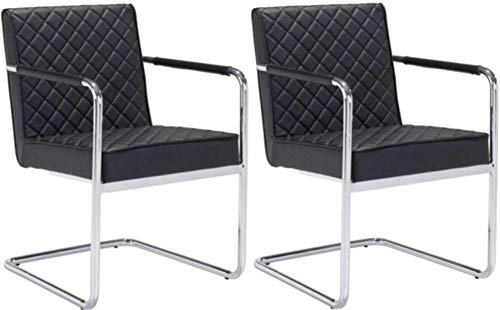 Zuo Modern 100189 Quilt Dining Chair (Set of 2), Black, Sleek Modern Canter Leaver Design, Soft Leatherette Featuring Quilted Detailed Upholstery to Both Plush Seat and Back Design