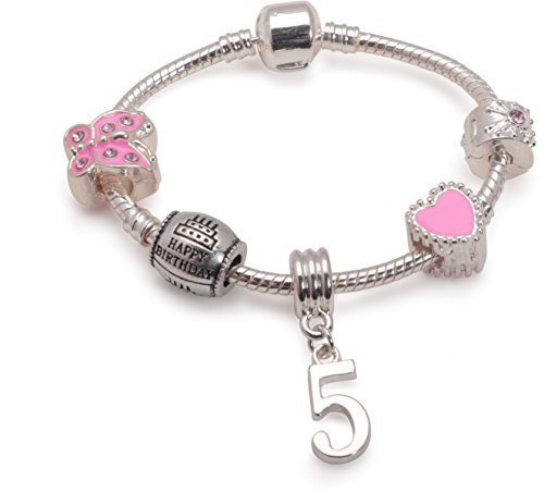 Liberty Charms Childrens Pink Happy 5th Birthday Silver Plated Charm Bracelet. with Gift Box (6.3in/16cm)