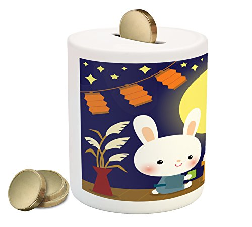 Ambesonne Anime Coin Box Bank, Little Bunnies Enjoying Tsukimi Japan Moon Watching Festival Traditional Event Party, Printed Ceramic Coin Bank Money Box for Cash Saving, Multicolor by Ambesonne