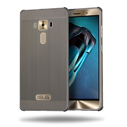 ZS570KL Case, ZLDECO Luxury Aluminum Metal Frame + PC Back Case with Tempered Glass Screen Protector for ASUS ZenFone 3 Deluxe 5.7 inch (Brushed Grey)