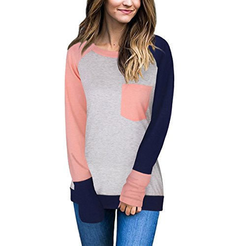 DF-deals Women's Casual Crewneck Long Sleeve Color Block Pocket Tunics Sweatshirt Blouse Tops (top deals)