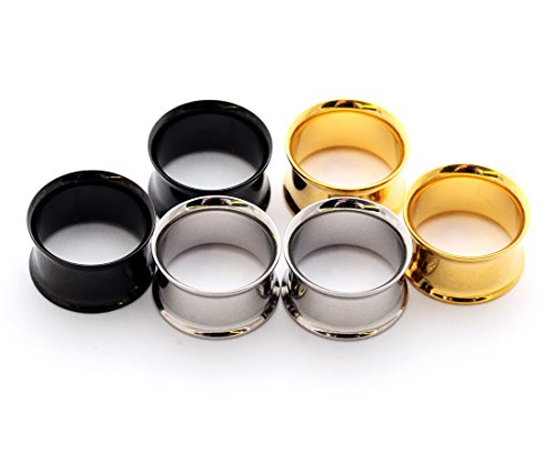 Set of 3 Pairs Steel Double Flare Tunnels - 3/4