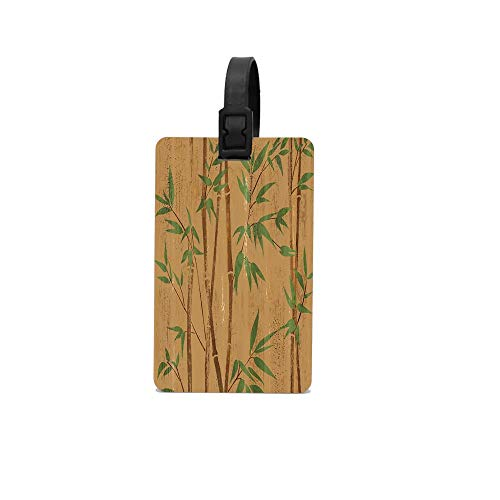 MichelleSmithred Hand Painted Bamboo Branches on Wood Texture Travel Luggage Tag Suitcase ID Tags Baggage Handbag Tag Labels
