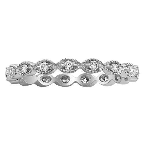 Bezel Eternity Diamond Band Set (Olivia Paris 14k Gold 1/4 Carat ctw (H-I, I1) Stackable Vintage Bezel Set Diamond Eternity Band Ring (white-gold, 5))
