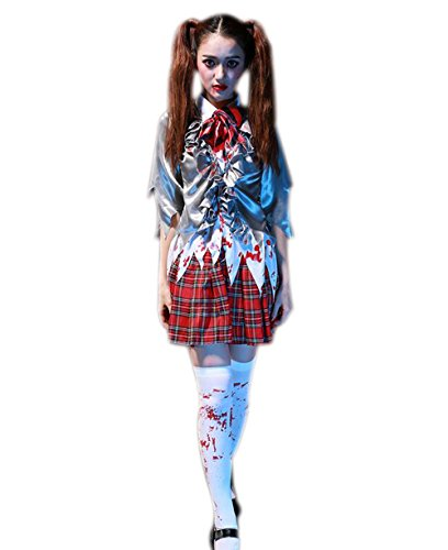 JJ-GOGO Womens Schoolgirl Costume - Halloween Sexy Japanese School Girl Zombie Costume for Adult]()