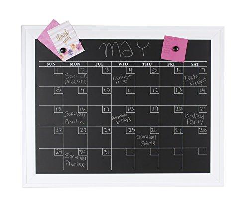 DesignOvation 209454 Bosc Framed Magnetic Chalkboard Monthly Calendar Wall Organization Board, White (Calendar White Wall)