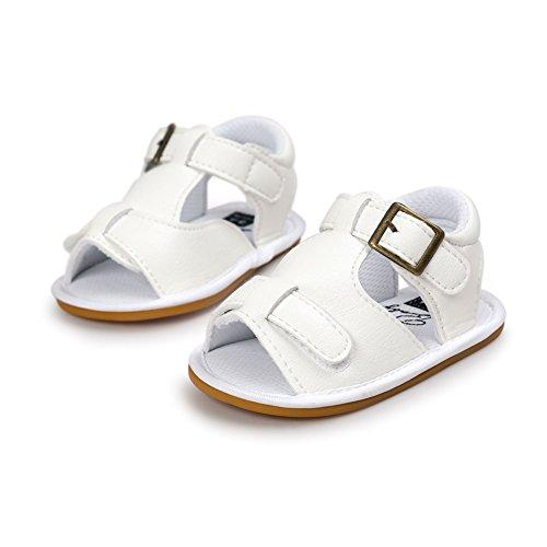 BOBORA Bebe Ninos Ninas Zapatos De Verano Suelas Blandas Antideslizante PU Sandalias blanco