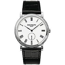Patek Philippe Calatrava Automatic White Dial 18 kt White Gold Mens Watch 5119G