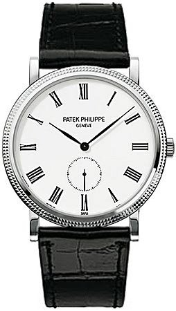 Patek Philippe Calatrava Automatic White Dial 18 kt White Gold Mens Watch 5119G (Patek Philippe Dial Gold)