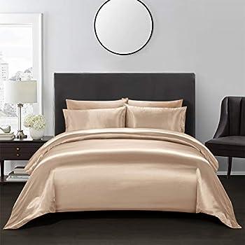 Amazon Com 2 Pieces Brown Bedding Silk Like Satin Duvet