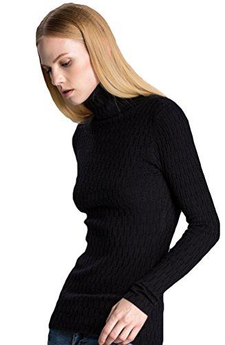 ZKOO Mujeres Blusa Camisas de Punto Top Blouses para Otoño Invierno Sueter Jerseys de Mangas Largas Negro