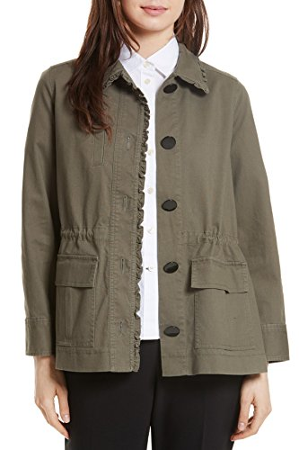 (Kate Spade New York Women's Ruffle Military Jacket, Olive Green, X-Small )
