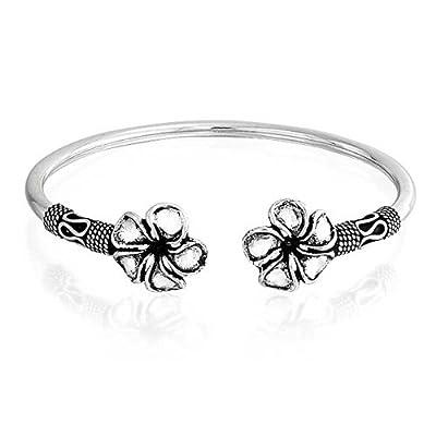 Bling Jewelry Plumeria Flower Bali Style Cuff Bracelet Oxidized Silver get discount