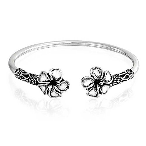 Bali Style Plumeria Flower Tips Stacking Bangle Bypass Cuff Bracelet For Women For Teen Oxidized 925 Sterling Silver