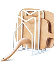 NiHome Cutting Board Holder Multipurpose Metal Pot Lid Organizer Ladle Rest Rustproof Kitchen Dish Plate Cutting Board Drying Rack Pan Stand Cabinet Countertop Shelf Cook Bake Dinnerware Storage Attom