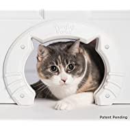 Purrfect Portal Built in Interior Pet Cat Door for Medium & Large Cats | Hole Pass Fits Indoor Hollow Core or Solid Inside Doors | Kitty Shaped Hole Interior Cat Door Hidden Litter Box Furniture