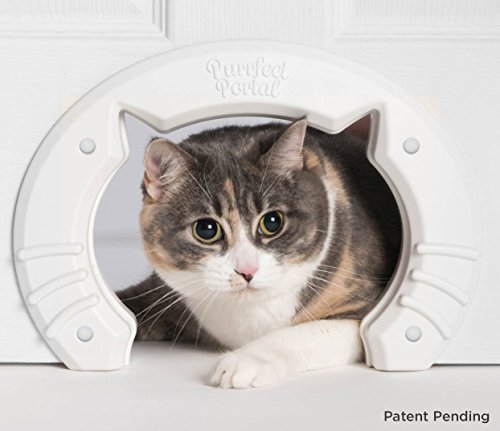 Purrfect Portal Built in Interior Pet Cat Door for Medium & Large Cats | Hole Pass Fits Indoor Hollow Core or Solid Inside Doors | Kitty Shaped Hole Interior Cat Door Hidden Litter Box Furniture (Mind Won T Shut Off To Sleep)