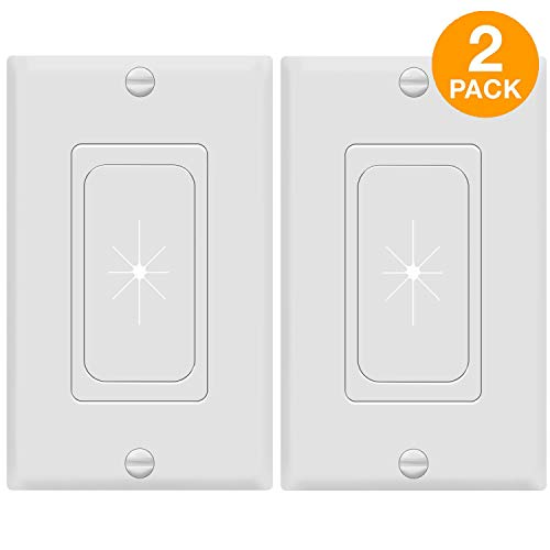 TOPGREENER Flexible Rubber Grommet Opening Pass-Through Insert with Decorator Wall Plate for Low-Voltage Cables, Size 1-Gang 4.50