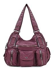 Double Zipper Washed Shoulder Bag H1336